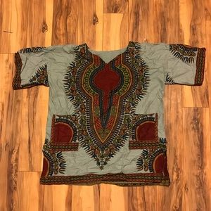 Tribal Print Scrub Top